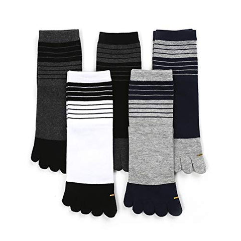 Men's Cotton Toe Socks 5 Finger Wicking 5 Pairs with Stripe Design TPAC69330