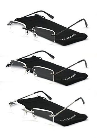 EYE ZOOM 3 Pairs Unisex Rimless Reading Glasses Metal Frameless Style Readers with Spring Hinge for Men and Women (Soft Pouch, Black, Gunmetal, Silver +3.00)