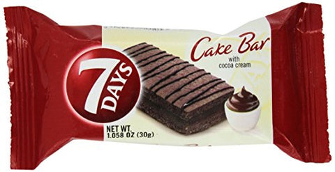 7 Days From Greece Cake Bars With Cocoa Cream - 10 Packs X 30g (1.0 Oz Per Pack)