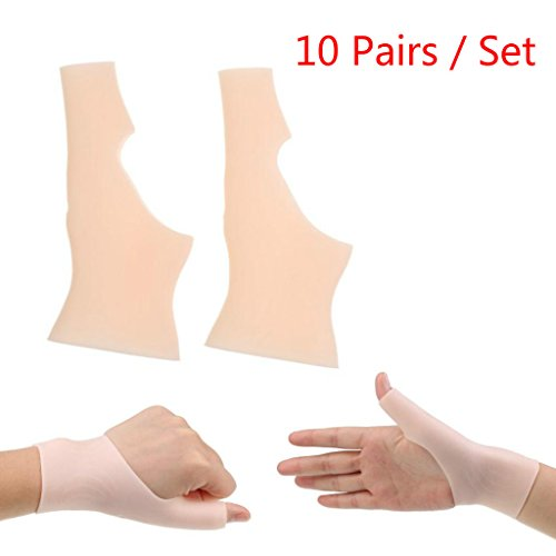 MonkeyJack 10Pairs Waterproof Silicone Gel Thumb Hand Wrist Support Gloves Pain Relief for Tenosynovitis Spasms Arthritis