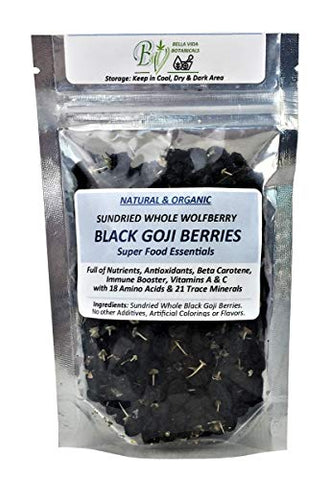 Bella Vida Cures Natural Black Goji Berries-Sun Dried Whole Berries-100% Pure-Healthy Herbal Tea-Antioxidant Food-Anti-Aging-2oz 56g