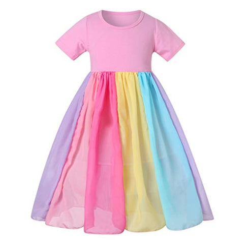 heavKin-Clothes 12M-6T Children's Girls Rainbow Skirt Short Sleeve Stitching Princess Dress,Gown Birthday Party Dresses