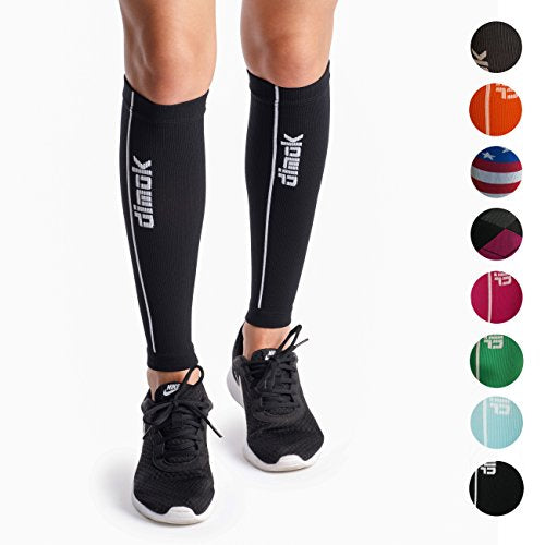 dimok Calf Compression Sleeves Pair - Leg Compression Socks for Calves Running Women Men - Best for Shin Splint Muscle Pain Better Circulation (Black, M/L)