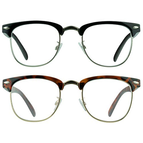 proSPORT Combo Reading Glasses +3.75 Black Silver and Tortoise Gold Frame Horn Rimmed Vintage Classic Semi Rimless Unisex