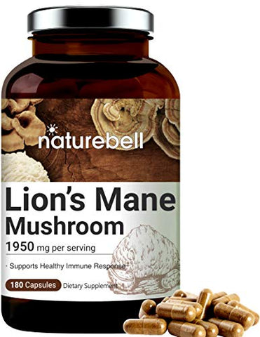 Lions Mane Supplements (Made with Lions Mane Mushroom), 1950mg Per Serving, 180 Capsules, Strongly Supports Healthy Immune System, Premium Lions Mane Brain Support Supplement, Non-GMO