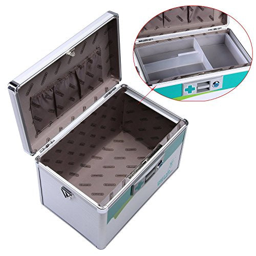 Glosen Lockable First Aid Box Security Lock Medicine Storage Box with Portable Handle (Medium)