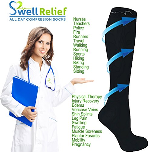 Mens, Womens 4 Pair 15-20mmHg Graduated Compression Socks 3 Black, 1 Stripe M/L