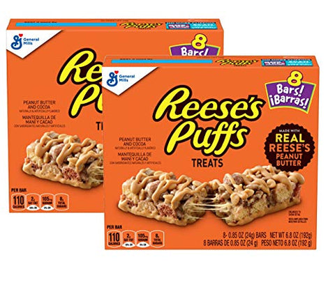 Reese's Puffs Peanut Butter & Cocoa Treats Flavored Cereal Bars - 2 Boxes (16 Bars)