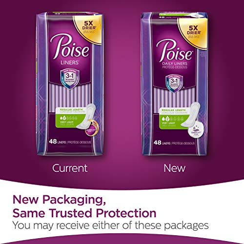 Poise Daily Incontinence Panty Liners, Very Light Absorbency, Regular, 6 Packs Of 48 Liners (288 Lin