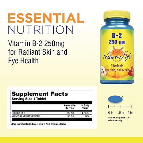 Natureâ??S Life Vitamin B 2 250mg | Powerful Support For Healthy Skin & Metabolism | Easy To Swallow