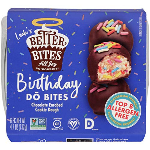 Better Bites All Joy No Worries Do Bites, Birthday, Chocolate Enrobed Cookie Dough, 4.7 Ounce (Pack of 6)