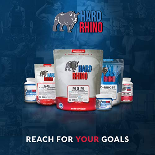 Hard Rhino MSM (Methylsulfonylmethane) Powder, 1 Kilogram (2.2 Lbs), Unflavored, Lab-Tested, Scoop Included