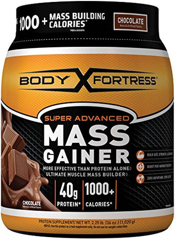 Body Fortress Super Advanced Whey Protein Powder Mass Gainer, Gluten Free, Chocolate, 2.25 lbs