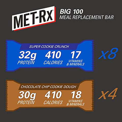 MET-Rx Big 100 Colossal Protein Bars, Healthy Meal Replacement Snack, Super Cookie Crunch and Chocolate Chip Cookie Dough Variety, 3.5oz bars (12 Count)
