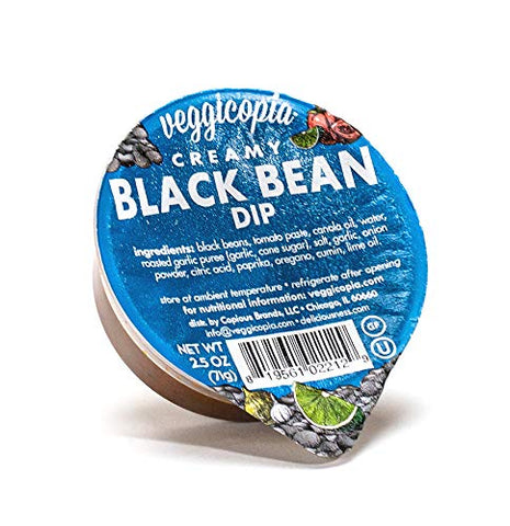 Veggicopia Creamy Black Bean Dip | Rich, zesty flavor - All Natural, Gluten free, Dairy free, Vegan, High Protein Snack. Shelf Stable. 2.5 oz dip cups (Pack of 24)