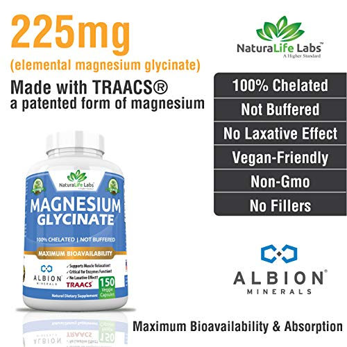 Magnesium Glycinate 450 Mg Albion Minerals Traacs Maximum Bioavailability Chelate No Laxative Effect
