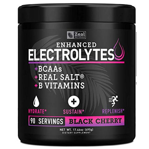 Enhanced Electrolyte Powder (Black Cherry| 90ct.) Sugar Free + BCAA, B-Vitamins & Real Salt - Keto Electrolytes Drinks, Hydration Powder w Potassium, Sodium, Zinc, Magnesium for Hydration & Recovery