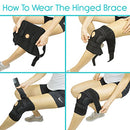 Image of Vive Hinged Knee Brace - Adjustable Open Patella Support for Swollen ACL, Tendon, Ligament and Meniscus Injuries - Athletic Compression for Running and Arthritic Joint Problems