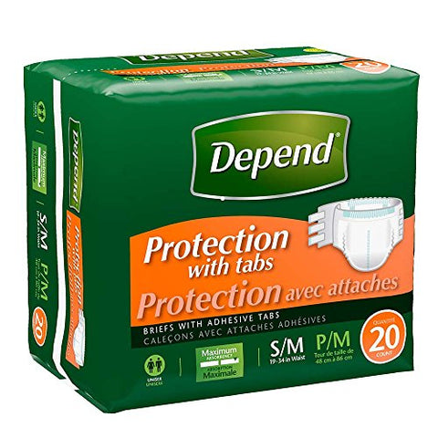 Depend Fitted Briefs - Day & Night, Maximum Protection, Small/Medium 20 ea /pk, Case of 80