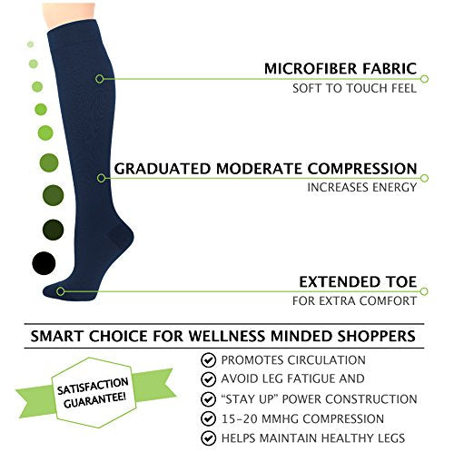 Womens Navy Compression Socks - 15-20 mmHg