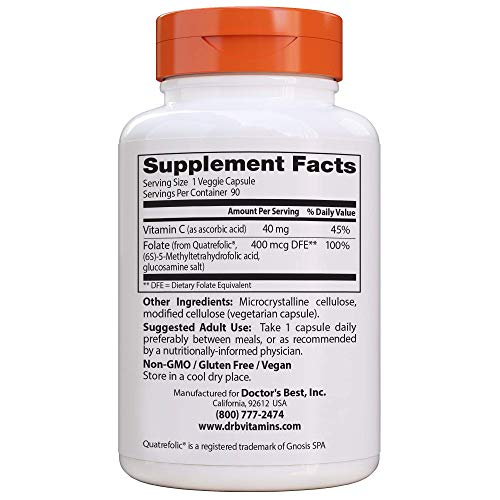 Doctor's Best Fully Active Folate with Quatrefolic, Non-GMO, Vegan, Gluten Free, 400 mcg, 90 Veggie Caps