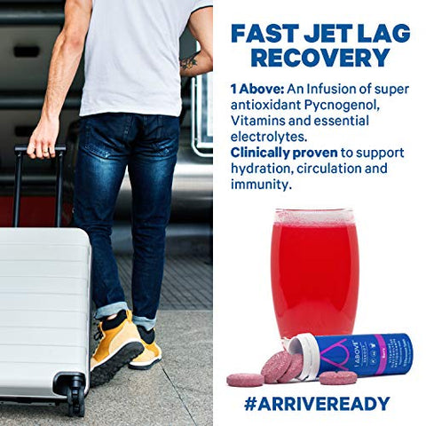 1Above Anti Jet Lag Flight Effervescent Drink Tablets. Super Antioxidant - Pycnogenol + Vitamins + Electrolytes for Travel, Work and Party. 10 Count (1 Tube) - Berry