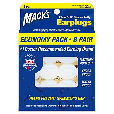 Macks Pillow Soft Silicone Earplugs  8 Pair, Economy Pack  The Original Moldable Silicone Putty Ear Plugs for Sleeping, Snoring, Swimming, Travel, Concerts and Studying