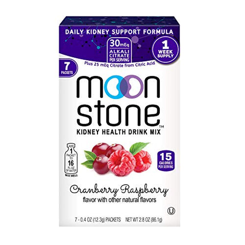 Moonstone Nutrition | Hydration Powder Packets and Supplement for Kidney Support, Function and Protection | 7Pk Cranberry Raspberry