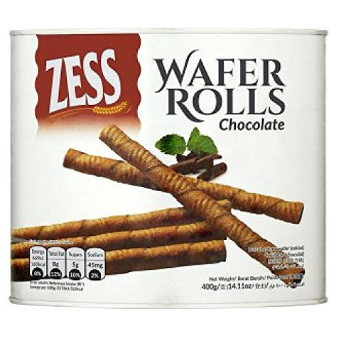 Zess Chocolate Wafer Rolls 400g (628MART) (12 Count)