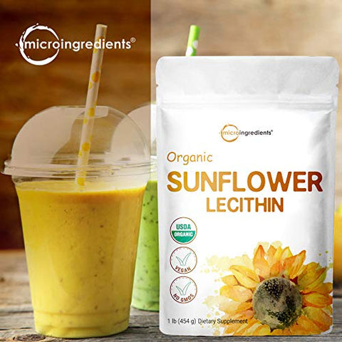 US Grown Organic Sunflower Lecithin Powder, 1 Pound (454g), Sustainable Farmed, Cold Pressed, Rich in Phosphatidyl Choline and Protein for Immune System Booster, No Soy, No GMOs and Vegan Friendly