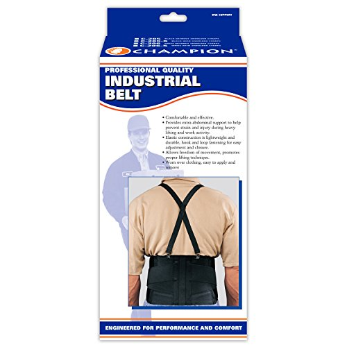 CHAMPION Industrial Belt Back Brace Abdominal Support, Black, X-Small