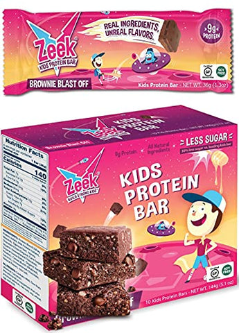Zeek Kids Protein Bars | 30% Less Sugar, 9g of Protein, All Natural Kids Snack | Nutrition Snack Bars for Active Kids & Sports | Gluten Free Snack | Brownie Blast Off, 4 Count