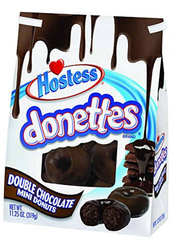 Hostess Donettes Frosted Mini Donuts, Double Chocolate, 1 Count (Pack of 9)