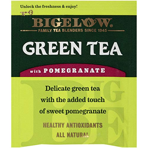 Bigelow Green Tea With Pomegranate Tea Bags, 20 Count Box (Pack Of 6) Caffeinated Green Tea, 120 Tea