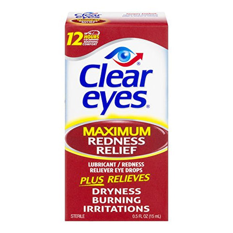 Clear Eyes Maximum Redness Relief Eye Drops - 0.5 oz, Pack of 4