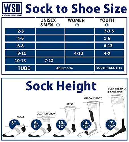 Yacht & Smith 6 Pairs Men and Women Value Pack of Ring Spun Cotton Crew Diabetic Nephropathy Socks