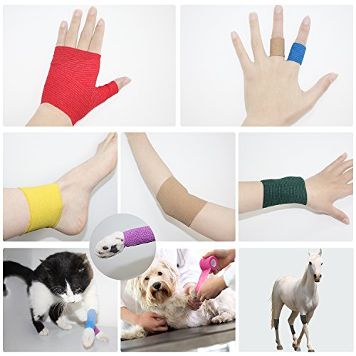 "Com Omed Self Adherent Cohesive Bandage Latex 4""X5 Yards First Aid Bandages Stretch Sport Wrap Athlet"