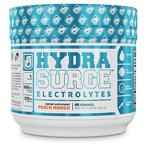 HYDRASURGE Electrolyte Powder - Hydration Supplement with Key Minerals, Himalayan Sea Salt, Coconut Water, More - Keto Friendly, Sugar Free & Naturally Sweetened - 60 Servings, Peach Mango