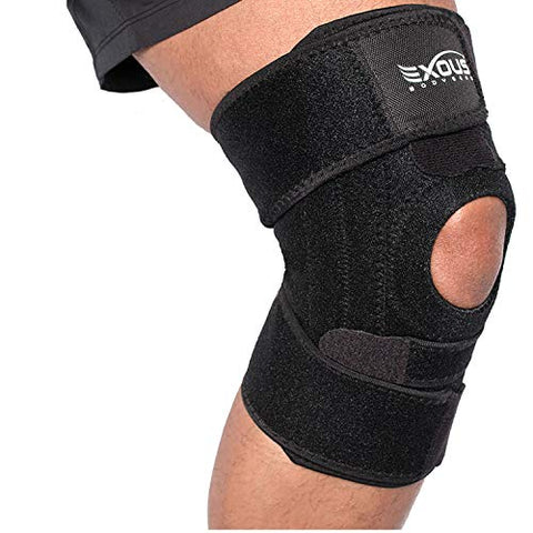 Knee Brace by EXOUS - Non-Slip 4-Way Knee Brace With Side Stabilizers for Total Patella and Knee Support - For Painful Joints, to Aid Injury Recovery and to Stay Active- Knee Braces For Knee Pain