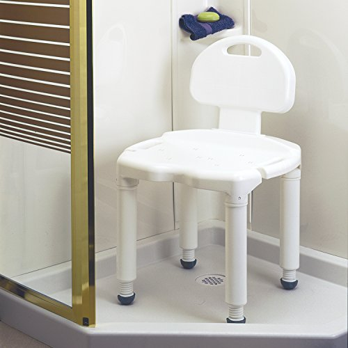 Carex Bath Seat And Shower Chair With Back For Seniors, Elderly, Disabled, Handicap, and Injured Persons, Supports Up To 400lbs