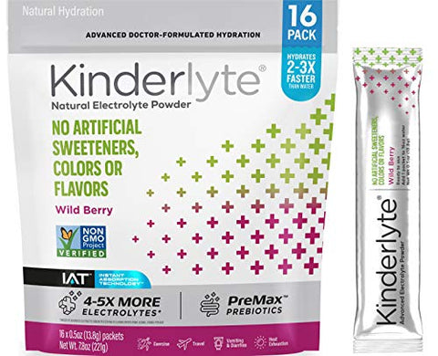 Kinderlyte Electrolyte Powder, Advanced Hydration, Easy Open Packets, Supplement Drink Mix (Wild Berry, 16 Count)