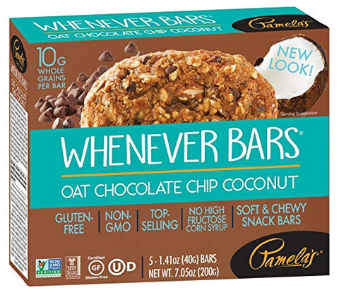 Pamela's Products, Whenever Bars, Oat Chocolate Chip Coconut, 5 Bars, 1.41 oz (40 g) Each(Pack 1)