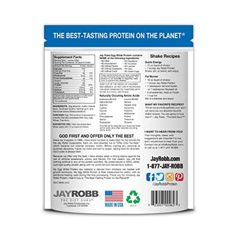 Jay Robb Vanilla Egg White Protein Powder, Low Carb, Keto, Vegetarian, Gluten Free, Lactose Free, No Sugar Added, No Fat, No Soy, Nothing Artificial, Non-GMO, Best-Tasting (24 oz, Vanilla)