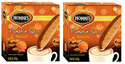 Nonnis PUMPKIN SPICE Biscotti Limited Edition Individually Wrapped 6.88 Oz. (Pack of 2)