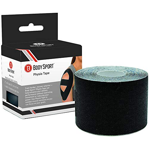 Body Sport Physio Tape, Kinesiology Tape to Support Muscles and Joints - 2 in x 5.5 yds - Black