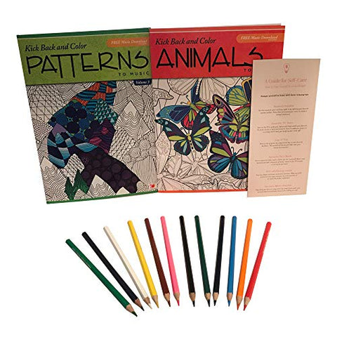 Kick Back & Color: Animals & Patterns Adult Coloring Book with Free Music & SELF-Care Guide (4 Items)