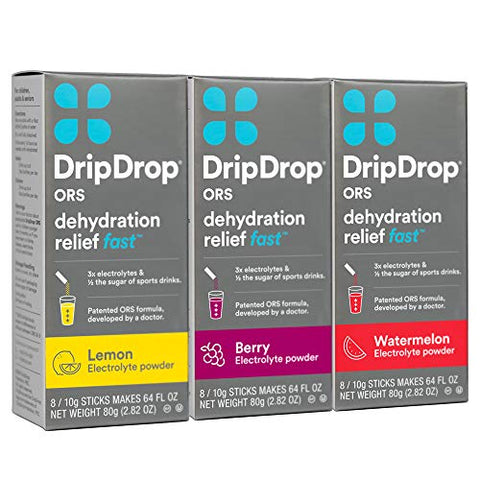 DripDrop ORS Electrolyte Hydration Powder Sticks, Lemon/Berry/Watermelon Variety Pack, 10g Sticks, 24 Count