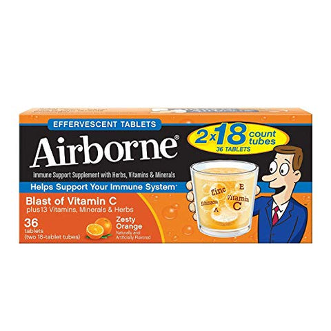 Airborne Effervescent Health Immune Boosting Formula Zesty Orange 36 Tablets (Bonus Size) by Airborne