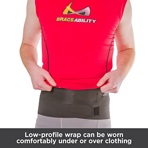 BraceAbility Elastic & Neoprene Compression Back Brace | Lumbar, Waist and Hip Support Belt for Sciatica Nerve Pain, Low Back Ache & Pain Relief While Sleeping, Working, Exercising, Walking (Large)