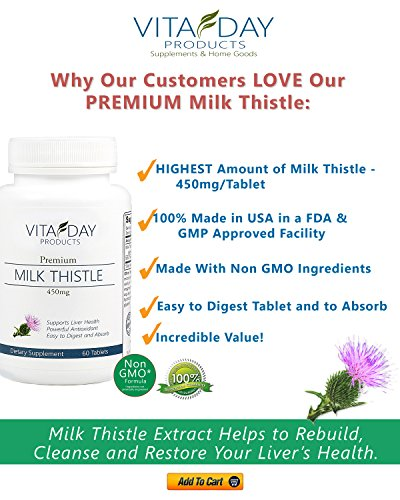 Milk Thistle Pure Extract - Silymarin for Liver Cleanse, Liver Detox, Liver Support and Antioxidant - 60 Easy to Swallow 450mg Tablets - No Soy - Liver Bonus Report with Every Purchase!